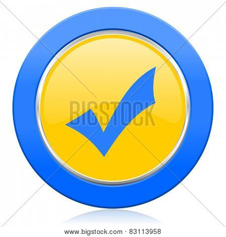 accept blue yellow icon check sign