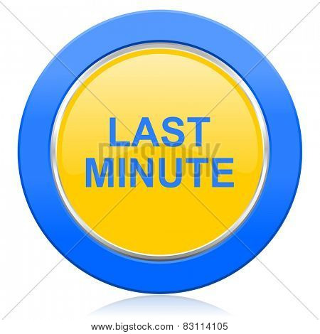 last minute blue yellow icon