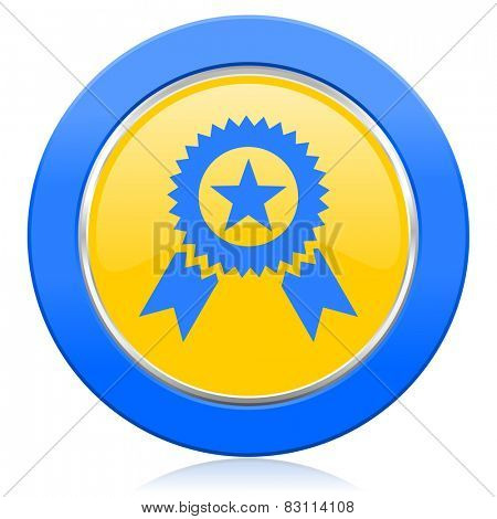 award blue yellow icon prize sign