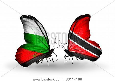 Two Butterflies With Flags On Wings As Symbol Of Relations Bulgaria And Trinidad And Tobago