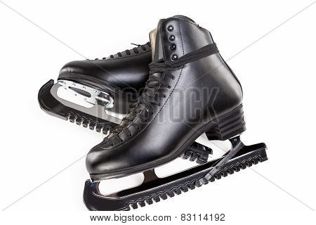 Figure Skating Concept: A Pair Of Professional Male Figure Skates With Covers Over White Background