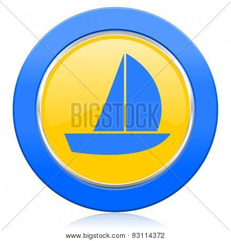 yacht blue yellow icon sail sign