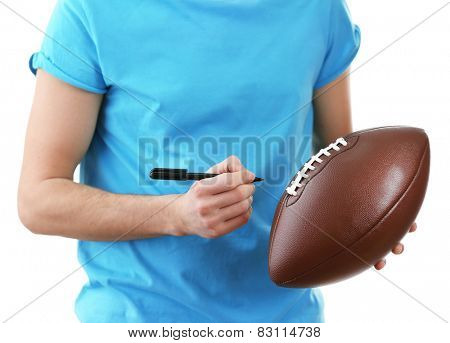 Autographs by American football star isolated on white background