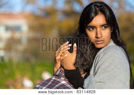 Woman Consoling Her Sad Boyfriend Or Husband