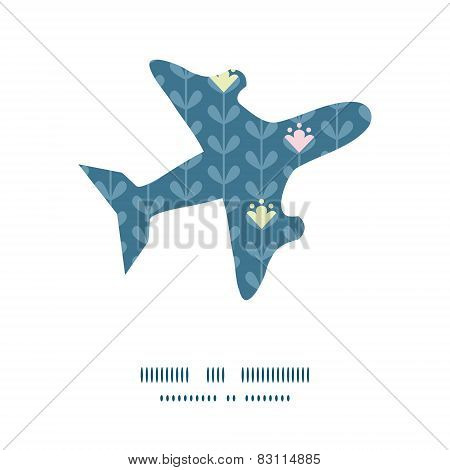 Vector blloming vines stripes airplane silhouette pattern frame