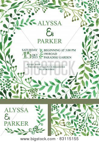 Wedding invitation with green watercolor brunches ,decor