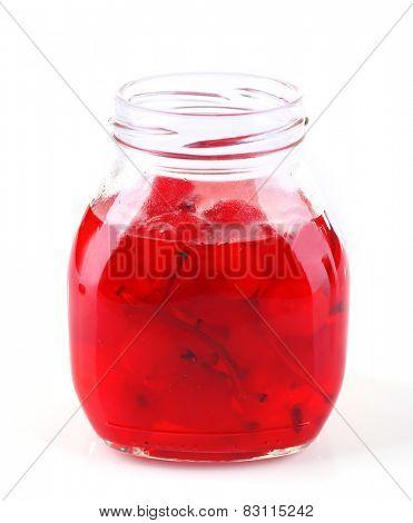 Homemade jar of red maraschino cherry isolated on white background