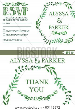 Wedding invitation set.Watercolor brunches wreath,decor