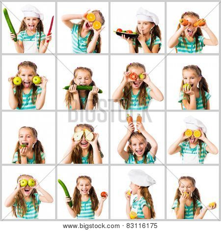 collage of little cute girl in a chef's hat and striped T-shirt with vegetables and fruits on a white background