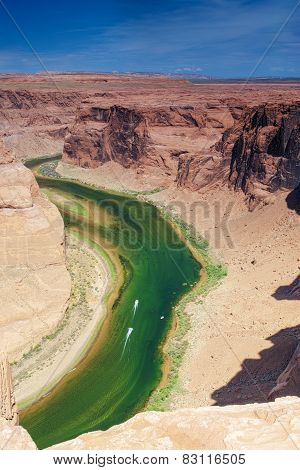 Partial View Of Extraordinary Miraculous Horseshoe Bend In Arizona State, United States Of America