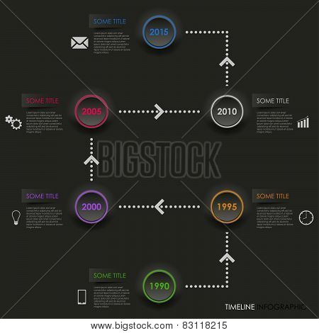 Time Line Info Graphic Dark Round Element Template