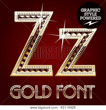 Vector set of gold rich alphabet with diamonds. Letter Z