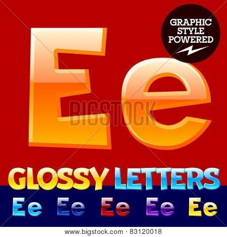 Vector set of glossy modern alphabet in different colors. Letter E. Also includes graphic styles