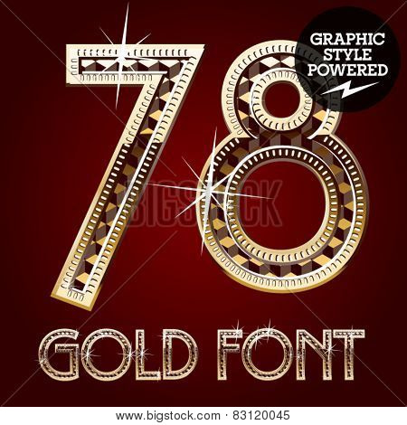 Vector set of gold rich alphabet with diamonds. Numbers 7 8
