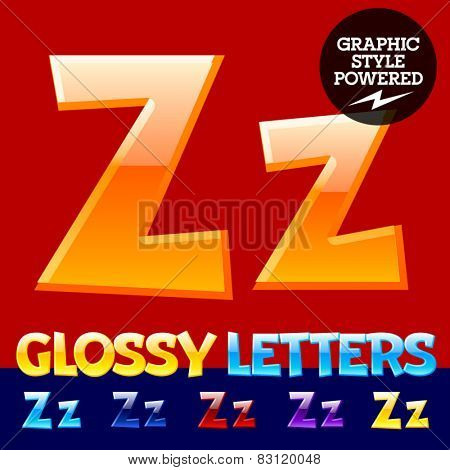 Vector set of glossy modern alphabet in different colors. Letter Z. Also includes graphic styles