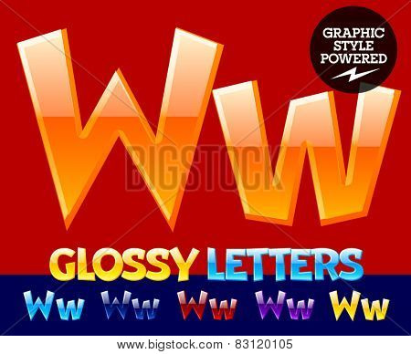 Vector set of glossy modern alphabet in different colors. Letter W. Also includes graphic styles