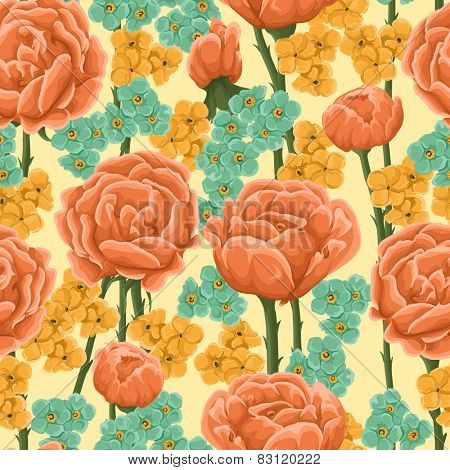Floral pattern with bright orange roses and small yellow and blue flowers.
