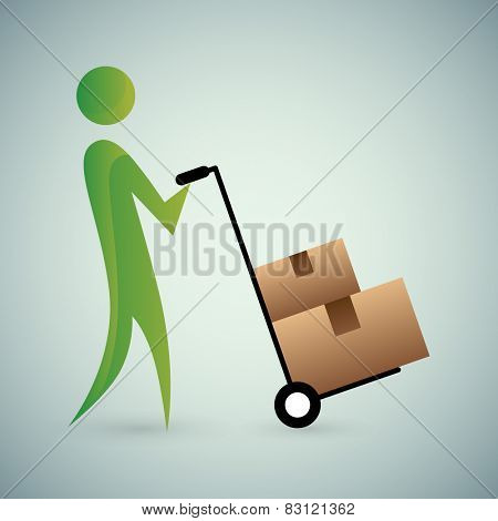 An image of an abstract person moving boxes.