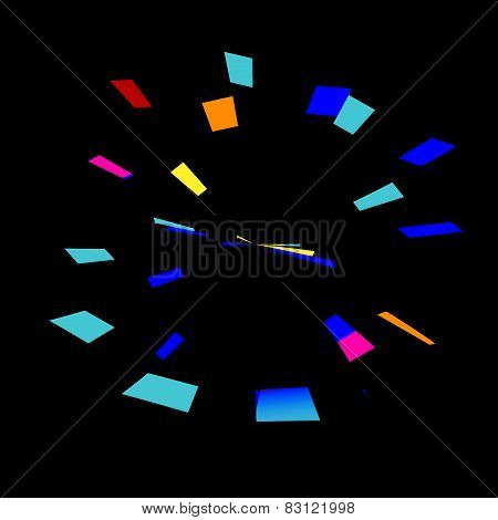 Colorful abstract fireworks on black background. Stopwatch or alarm clock abstraction. Blue.