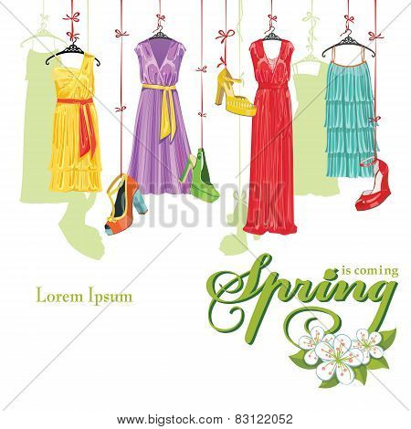 Dress and shoes.Spring Fashion Illustration