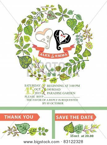 Cute wedding invitation with stylized heart, wreath
