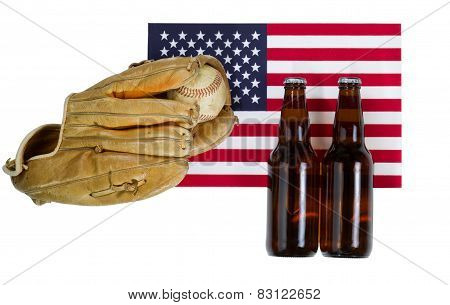 American Pastime Of Baseball On Isolated White
