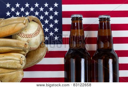 American Pastime With Baseball And Beer