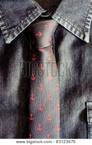 Detail Of Tie And Denim Vintage Shirt
