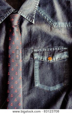 Denim Vintage Shirt With Nice Tie