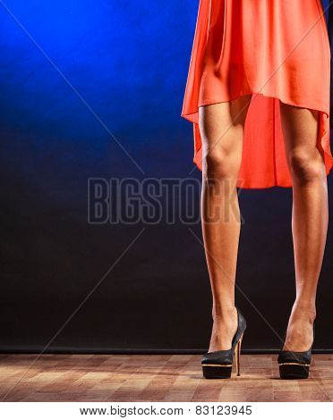 Woman Legs On High Heels.
