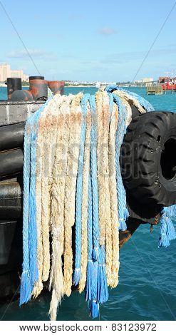 Boat anchor ropes.