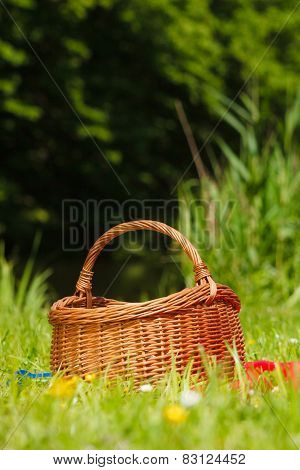 Picnic Basket On Meadow In Green Grass