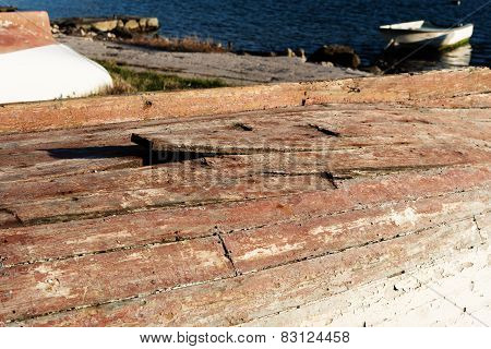 Bottom of old wooden boat