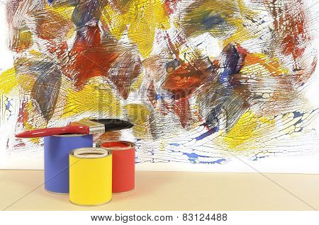 White Wall With Abstract Paint