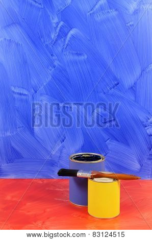 Painted Blue Wall With Red Floor