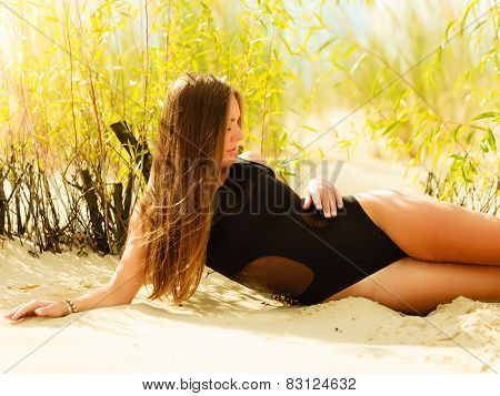 Beautiful Sexy Girl In Swimwear On Beach.