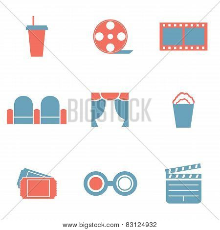 Flat Design Duotone Cinema Icons.