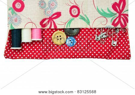 Thread And Button In Sewing Kit Bag