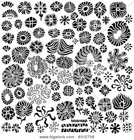 Abstract Floral Design Elements Vectors