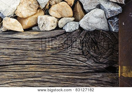 Old Wood And Stone And Railway