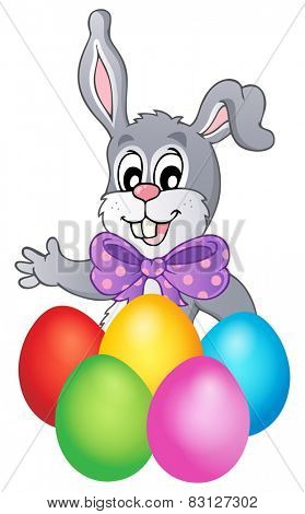 Happy bunny with Easter eggs - eps10 vector illustration.
