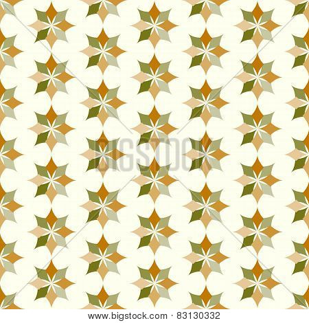 Dark Brown And Green Classic Rhomboid Flower Seamless Pattern