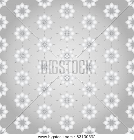 Silver Classic Rhomboid Flower Seamless Pattern