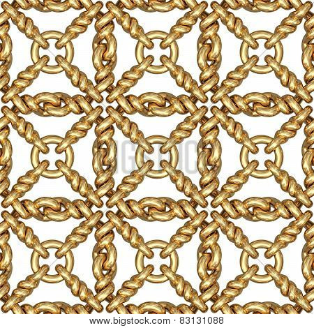 Seamless Pattern Of Gold Wire Mesh Or Fence On White