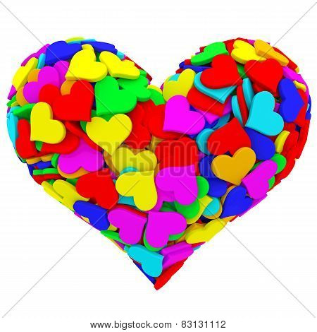 Heart Shape Composed Of Many Colorful Hearts