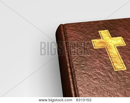 3D Holy Bible With Cross On Book From Leather