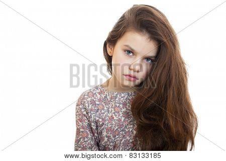 Sad little girl, isolated on white background