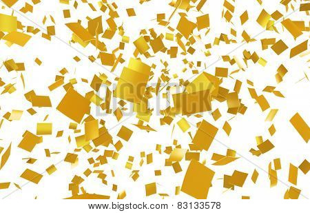 High quantity of Gold confetti falling on a white background. Slight motion blur. no depth.