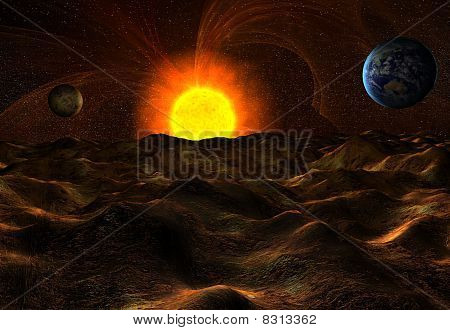 View From Surface Of Planet On Sun And Earth In Space