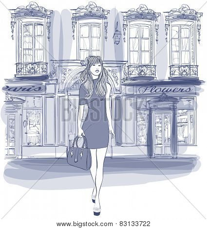 Young Asian woman walking in a street in Paris - Vector illustration